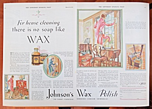1929 Johnson's Wax Polish With Women Cleaning