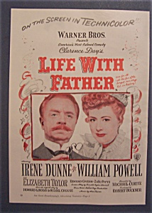 1947 Movie Ad For Life With Father