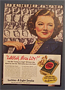 1938 Lucky Strike Cigarettes With Myrna Loy