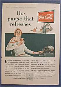 1929 Coca Cola (Coke) with Typist Taking a Soda Break  (Image1)
