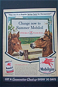 1943 Mobil Gas With Two Ponies