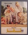 1967 Clorox Bleach w/ Man Playing Marbles with Children