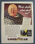 1936 Goodyear Tires with Baby's Face Through Tire