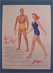 1941 Jantzen Swimwear with Man Watching Woman By Varga