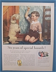1935 Cream Of Wheat Cereal with Boy Giving Dog A Bone