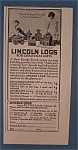 1926 Lincoln Logs with Two Children Playing with Logs
