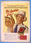 1938 Lucky Strike Cigarettes with Man Holding Leaves