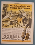 Click here to enlarge image and see more about item 10934: Vintage Ad: 1941 Goebel Michigan's Beer