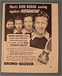 Click here to enlarge image and see more about item 10982: Vintage Ad: 1940 Bromo-Seltzer with Don Budge