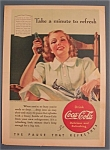 1940 Coca-Cola (Coke) with Woman Sitting in a Chair