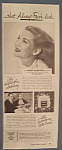 Vintage Ad:1947 Woodbury Cold Cream w/Louise Allbritton