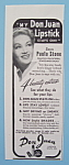 Click here to enlarge image and see more about item 11182: Vintage Ad: 1946 Don Juan Lipstick w/ Paula Stone