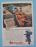 1956 Evinrude Outboard Motors with Man Unhooking Boat