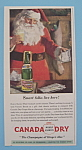 Click here to enlarge image and see more about item 11245: Vintage Ad: 1946 Canada Dry Ginger Ale with Santa Claus