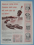 Click here to enlarge image and see more about item 11498: Vintage Ad: 1953 Champion Spark Plugs w/Buck Baker