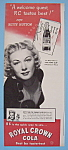 Vintage Ad: 1946 Royal Crown Cola w/ Betty Hutton
