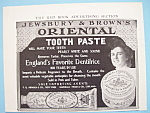 Vintage Ad:1906 Jewsbury & Brown's Oriental Tooth Paste