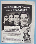 Click here to enlarge image and see more about item 11885: Vintage Ad: 1940 Bromo - Seltzer w/ Gene Krupa