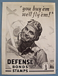 WW II Era 1942 U.S. Defense Bonds & Stamps Patriotic Ad