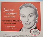 Click to view larger image of Vintage Ad: 1955 Kitchen Maid Kitchens w/ Faye Emerson (Image1)