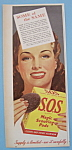 Click here to enlarge image and see more about item 12330: Vintage Ad: 1944 S.O.S. Magic Scouring Pads