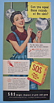 Click here to enlarge image and see more about item 12332: Vintage Ad: 1946 S.O.S. Magic Scouring Pads