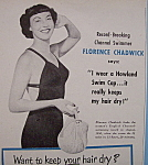 Click to view larger image of Vintage Ad: 1951 Howland Swim Caps w/ Florence Chadwick (Image1)