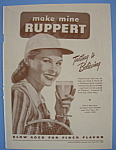 1946 Ruppert Beer with Woman Holding Up a Glass of Beer