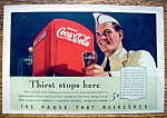 1940 Coca-Cola (Coke) with Soda Boy Holding Glass