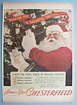 Click here to enlarge image and see more about item 12437: Vintage Ad: 1945 Chesterfield Cigarettes w/ Santa Claus