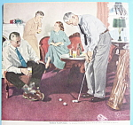 Click here to enlarge image and see more about item 12470: 1950 Beer Belongs Indoor Golf Clinic Douglas Crockwell