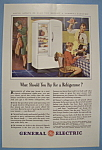 1941 General Electric Refrigerator with Man & Ham