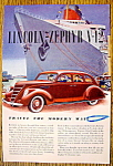 Click to view larger image of Vintage Ad: 1937 Lincoln Zephyr V-12 (Image1)