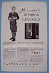 Click here to enlarge image and see more about item 12651: Vintage Ad: 1931 Baltimore & Ohio