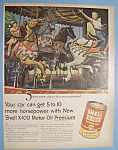 1955 Shell X-100 Motor Oil w/Children on Merry Go Round