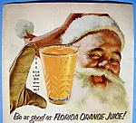 Click to view larger image of 1953 Florida Orange Juice with Santa Claus (Image1)
