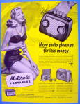 Click to view larger image of 1948 Motorola Portables with Lovely Woman In Swim Suit (Image1)