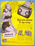 Click to view larger image of 1948 Motorola Portables with Lovely Woman In Swim Suit (Image2)