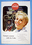 1953 Coca Cola with Woman Smiling & Drinking a Coke