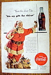 1954 Coca Cola with Santa Claus Drinking Coke