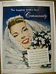 Click here to enlarge image and see more about item 13528: Vintage Ad: 1949 Community Silverplate