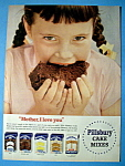 1954 Pillsbury Cake Mix with Girl Eating Cake