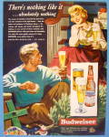 1949 Budweiser Beer By Cassell w/ Man & Woman Drinking
