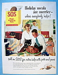Vintage Ad:1951 S.O.S. Magic Scouring Pads By Crockwell