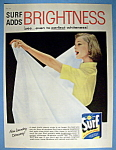 1957 Surf Detergent w/Woman Looking at White Bed Sheet
