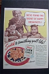 1940 Kellogg's Corn Flakes Cereal with Mom & Kids