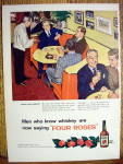 1954 Four Roses Whiskey with Men Enjoying Whiskey