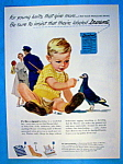 1951 Durene Yarn with Little Child Feeding a Bird
