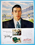 Click here to enlarge image and see more about item 14253: Vintage Ad: 1950 Avon Toiletries with Joe DiMaggio