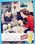 1960 Schlitz Beer with Man & Woman Playing Monopoly